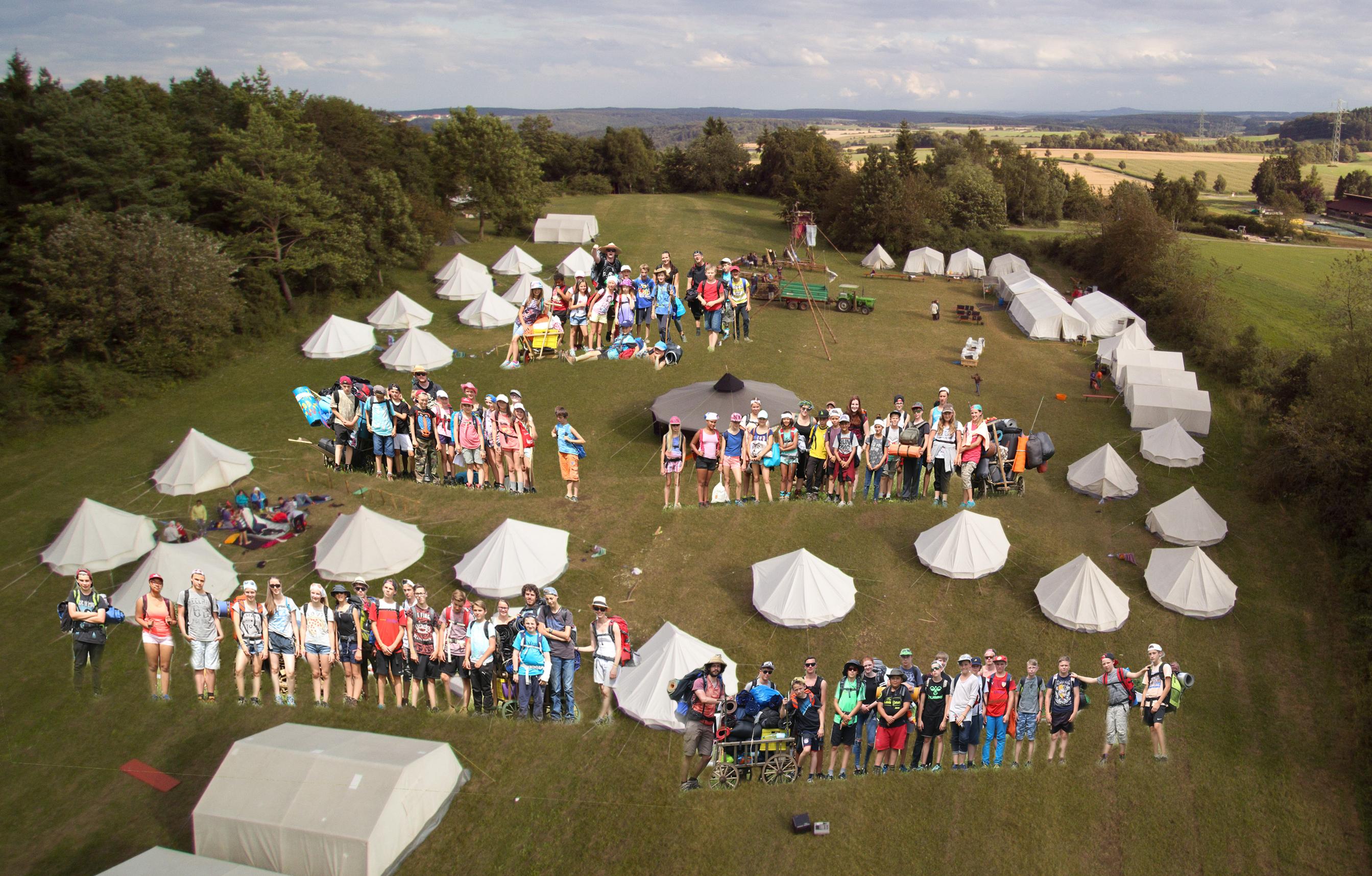 Alle Teilnehmer des Sommerzeltlagers 2016 in Gruppen auf dem Lagerplatz.